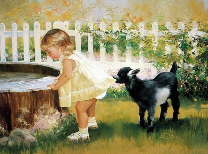Little Girl with Lamb - diamond-painting-bliss.myshopify.com