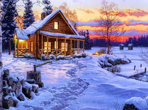 Log Cabin in Snow - Paint by Diamonds - diamond-painting-bliss.myshopify.com