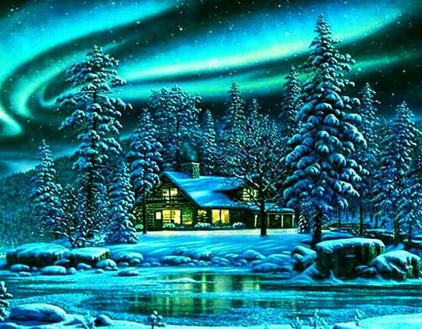 Log Cabin in the Snow - diamond-painting-bliss.myshopify.com