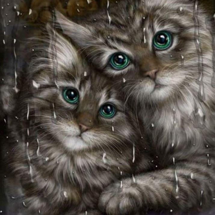 Lovely Cats with Green Eyes - diamond-painting-bliss.myshopify.com