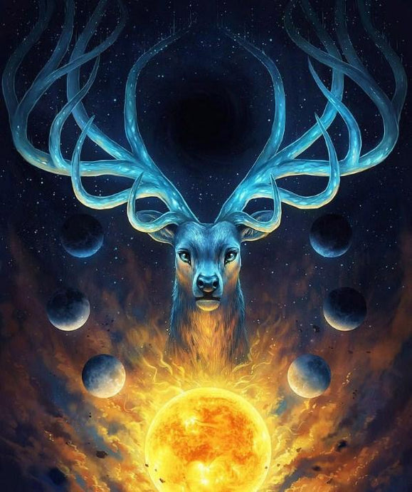 Lunar Reindeer - Paint by Diamonds - diamond-painting-bliss.myshopify.com