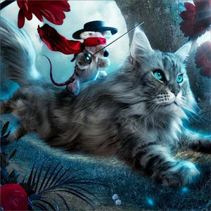 Mouse Riding the Cat - diamond-painting-bliss.myshopify.com