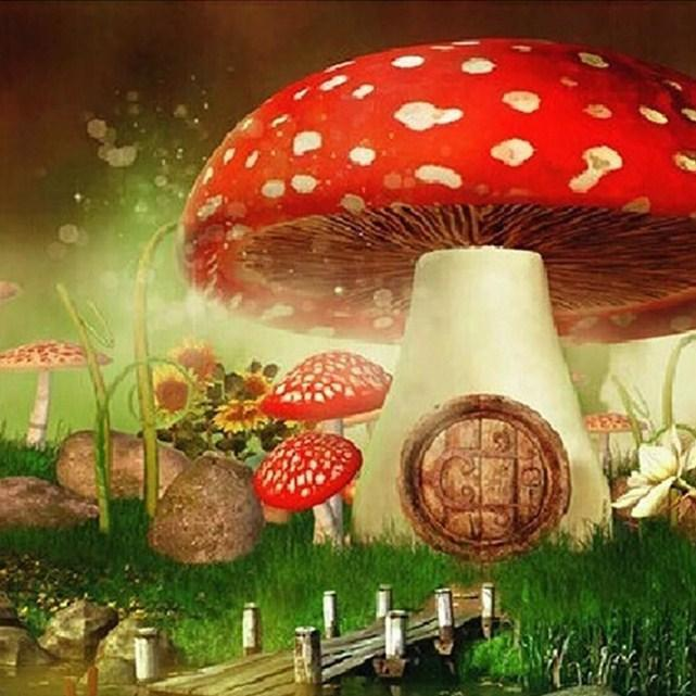 Mushroom House for Little Fairies - diamond-painting-bliss.myshopify.com