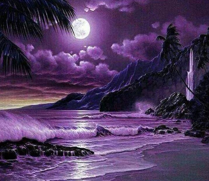 Night Moon & Purple Beach - diamond-painting-bliss.myshopify.com