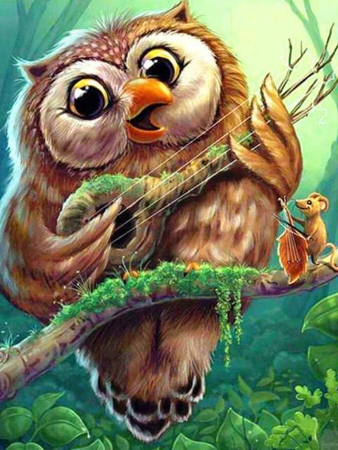 Owl Playing Guitar - Diamond Painting - diamond-painting-bliss.myshopify.com