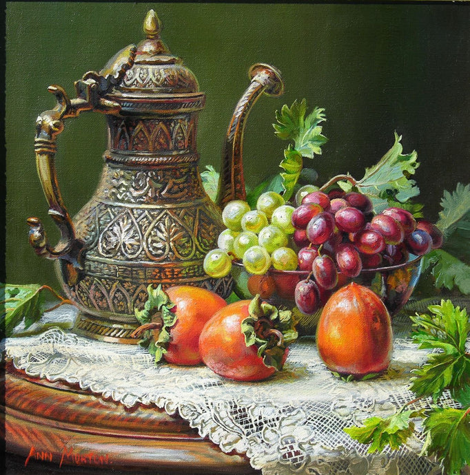 Persimmons & Grapes Still Life Painting - diamond-painting-bliss.myshopify.com