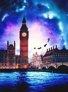 Peter Pan Flying by the Big Ben - diamond-painting-bliss.myshopify.com