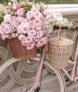 Pink Rose Basket & Bicycle - diamond-painting-bliss.myshopify.com