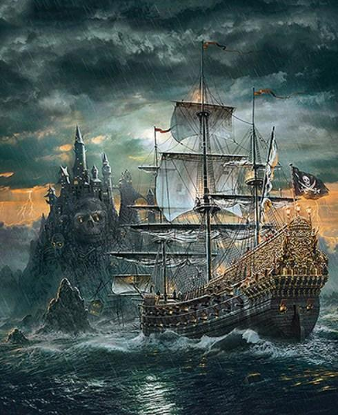 Pirates Ship - Paint by Diamonds - diamond-painting-bliss.myshopify.com