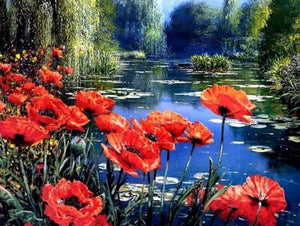 Poppy Flowers by the Lake - diamond-painting-bliss.myshopify.com