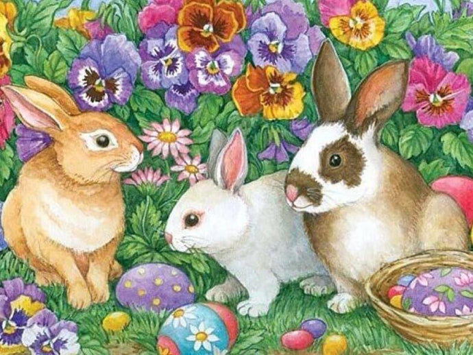 Rabbits & Flowers - diamond-painting-bliss.myshopify.com