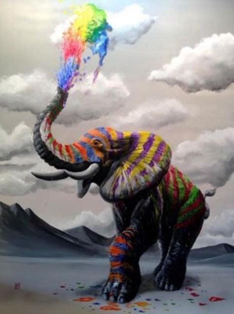 Rainbow Elephant by Michael Summers - diamond-painting-bliss.myshopify.com