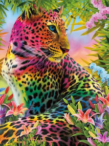 Rainbow Leopard & Flowers - diamond-painting-bliss.myshopify.com