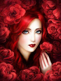 Red Flowers & Gorgeous Lady - diamond-painting-bliss.myshopify.com