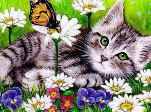 Resting Cat & Butterfly Diamond Painting - diamond-painting-bliss.myshopify.com
