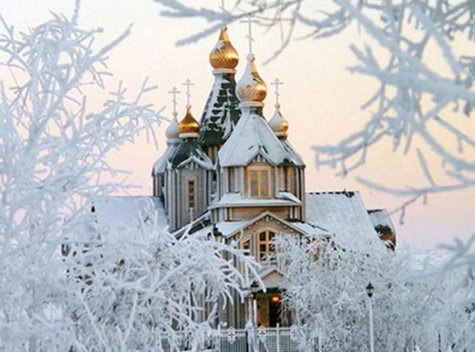 Russian Orthodox Church Winter - diamond-painting-bliss.myshopify.com