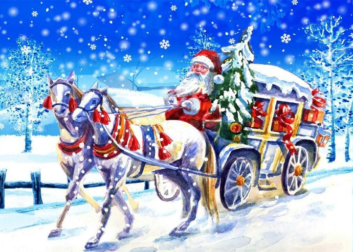 Santa Claus in a Carriage with Horses - diamond-painting-bliss.myshopify.com