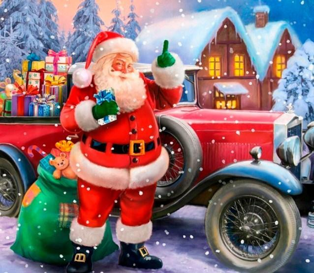 Santa Claus on Christmas Car - diamond-painting-bliss.myshopify.com