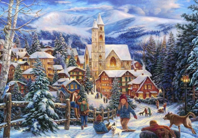 Sledding to Town Christmas Painting - diamond-painting-bliss.myshopify.com