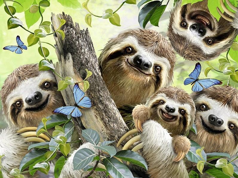 Sloth Family Diamond Painting Kit - diamond-painting-bliss.myshopify.com