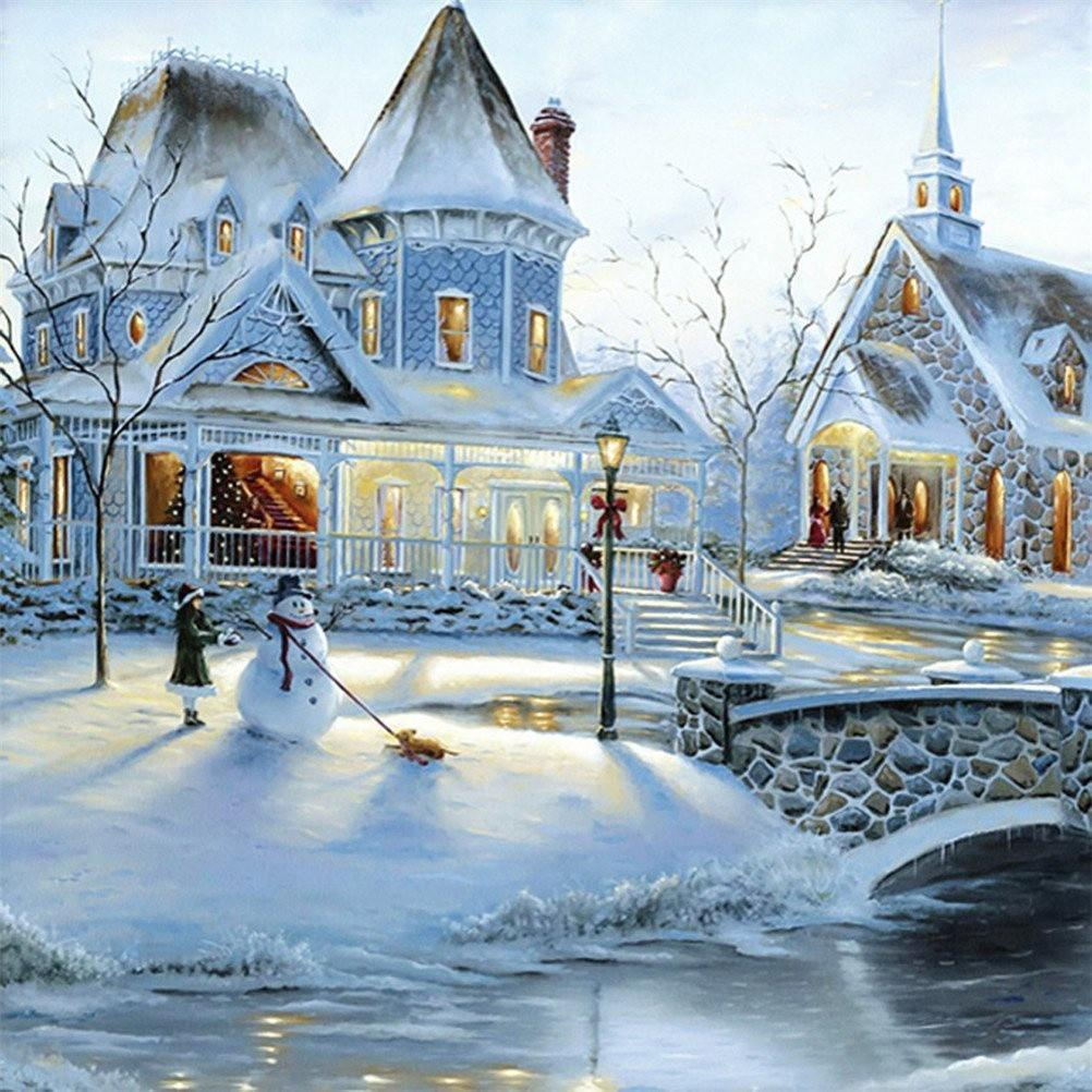 Snowy Town Diamond Painting - diamond-painting-bliss.myshopify.com