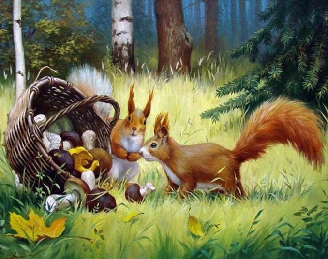 Squirrels in the Forest - diamond-painting-bliss.myshopify.com