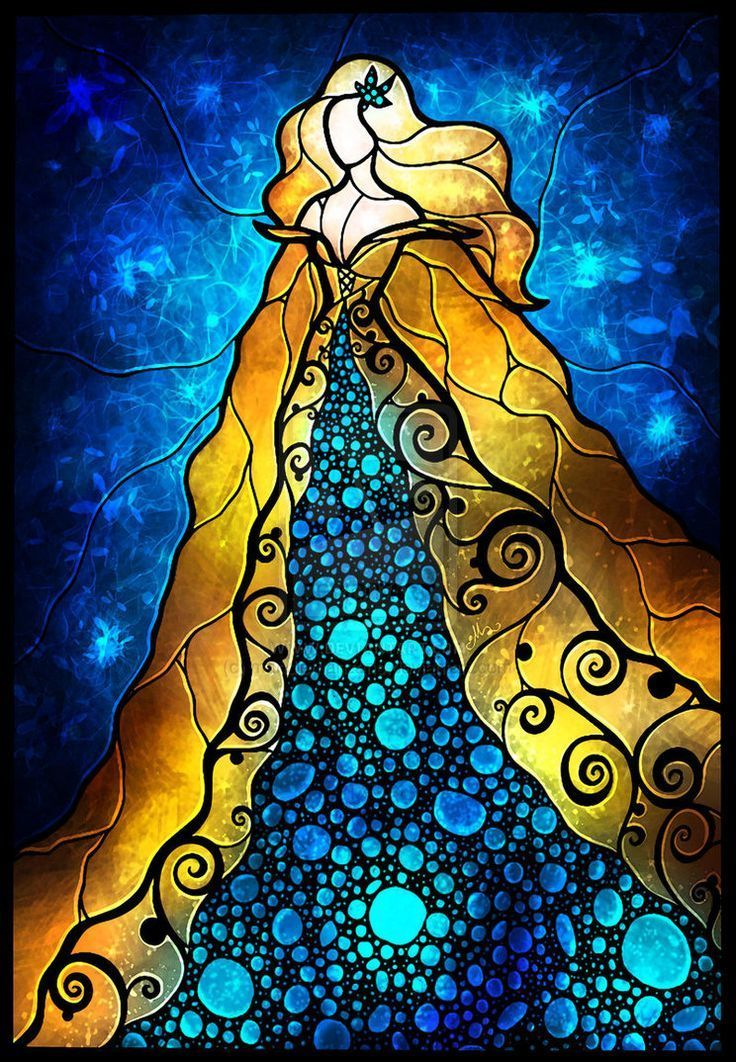 Stained Glass Art Painting of Princess - diamond-painting-bliss.myshopify.com