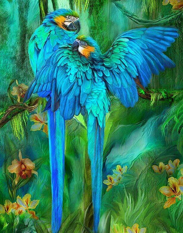 Stunning Pair of Blue Parrots - diamond-painting-bliss.myshopify.com
