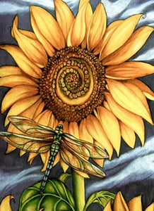 Sunflower & Dragon Fly - diamond-painting-bliss.myshopify.com
