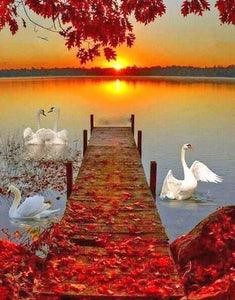 Sunset & Swans Diamond Painting Kit - diamond-painting-bliss.myshopify.com