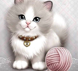 Sweet Kitty with Ball of Yarn - diamond-painting-bliss.myshopify.com