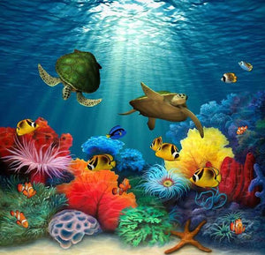 Turtles & Fish in the Water - diamond-painting-bliss.myshopify.com