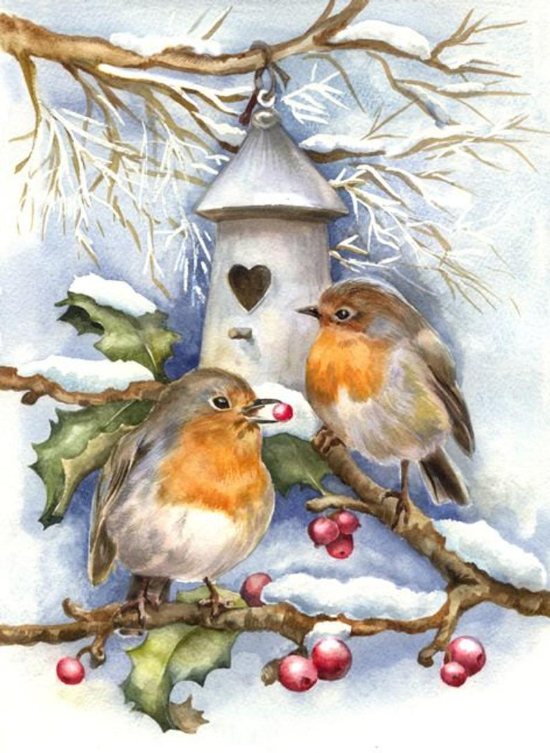 Vintage Christmas Birds Painting Kit - diamond-painting-bliss.myshopify.com