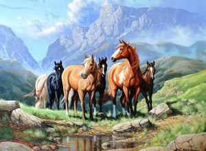 Wild Horses - Paint by Diamonds - diamond-painting-bliss.myshopify.com