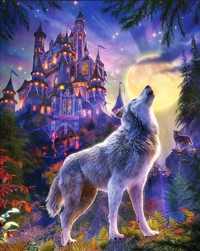 Wolf Castle Diamond Painting Kit - diamond-painting-bliss.myshopify.com