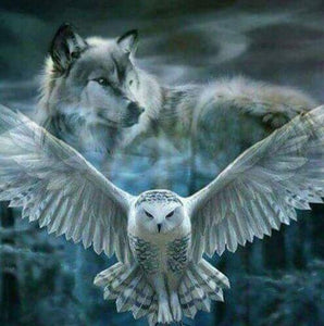 Wolf & Owl Painting - diamond-painting-bliss.myshopify.com