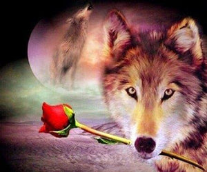 Wolf with Red Rose - diamond-painting-bliss.myshopify.com