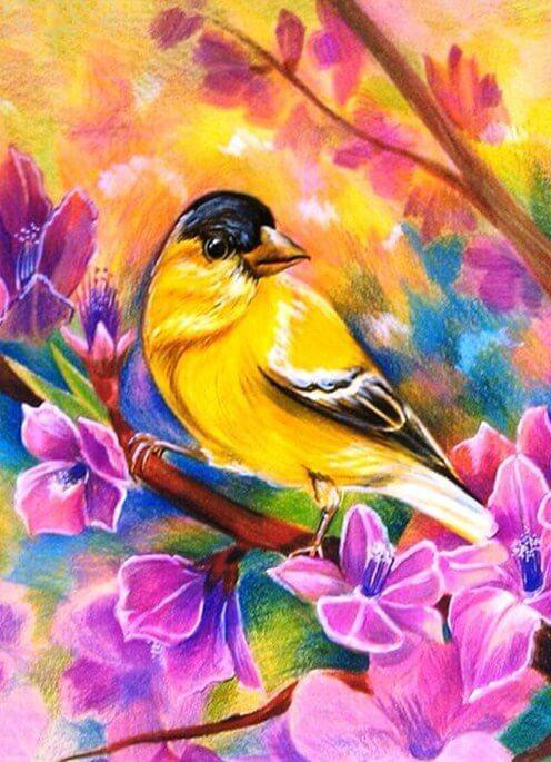 Yellow Birds in Flowers - diamond-painting-bliss.myshopify.com