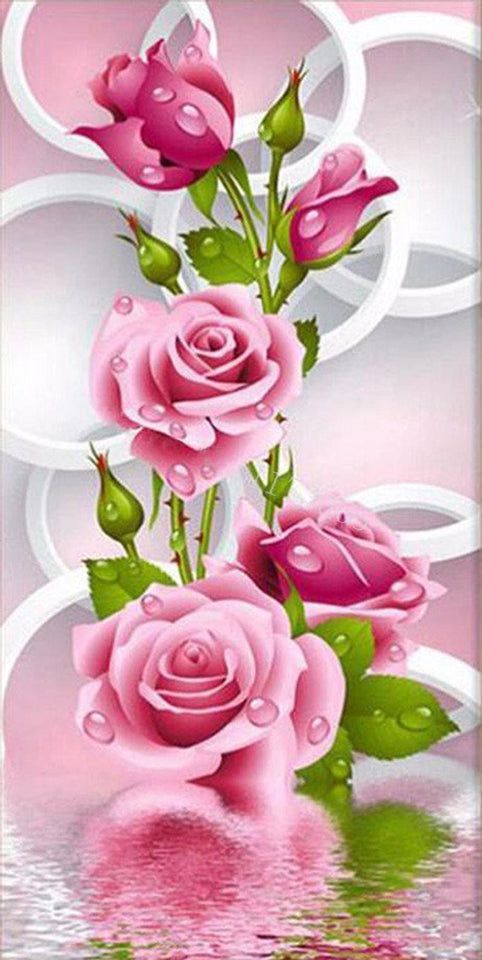 Pink Roses DIY Diamond Painting - diamond-painting-bliss.myshopify.com