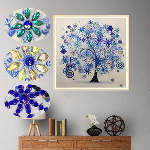 Embroidery Winter Flower Tree