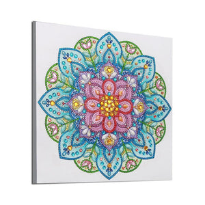 Blue and Pink Motif Flowers Painting