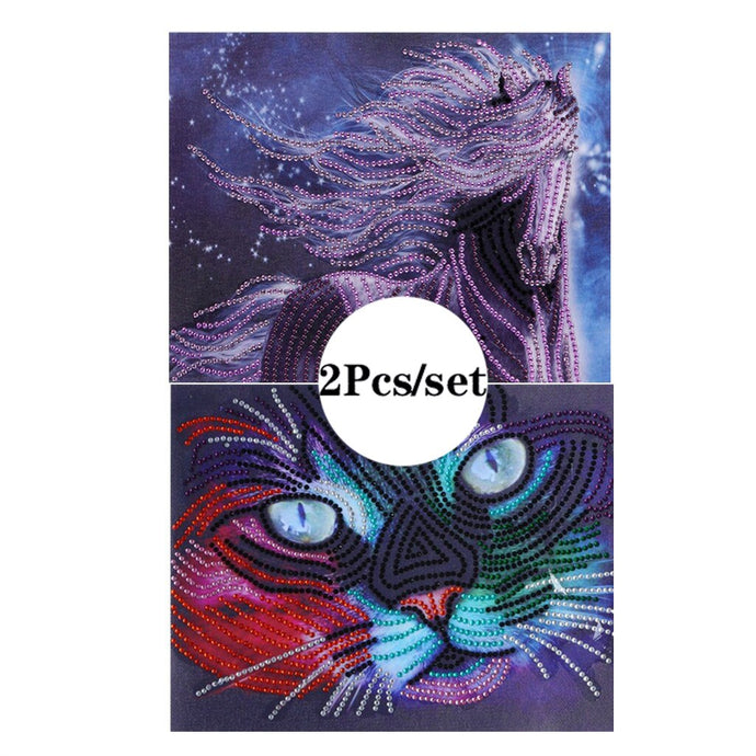2Pcs Set Purple Horse And Colorful Cat