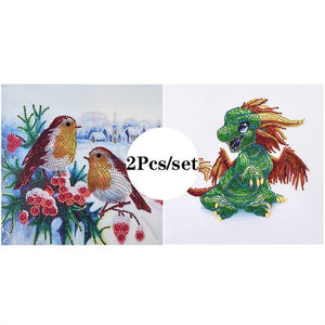 2Pcs Set Colorful Birds And Dragon