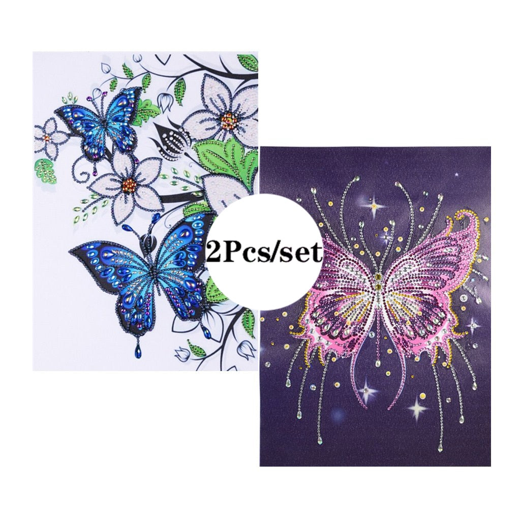 2Pcs Set Colorful Butterfly And Flowers Paintings
