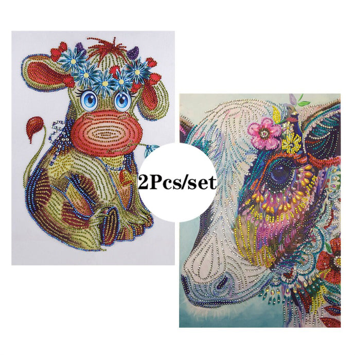 2Pcs Set Lovely Colorful Cows