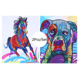 2Pcs Set Colorful Horse And Dog Painting