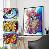 2Pcs Set Colorful Dog And King Owl Painting