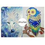 2Pcs Colorful Owl And Wolf