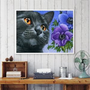 Cat With Yellow Eyes And Flowers Special Diamond Painting