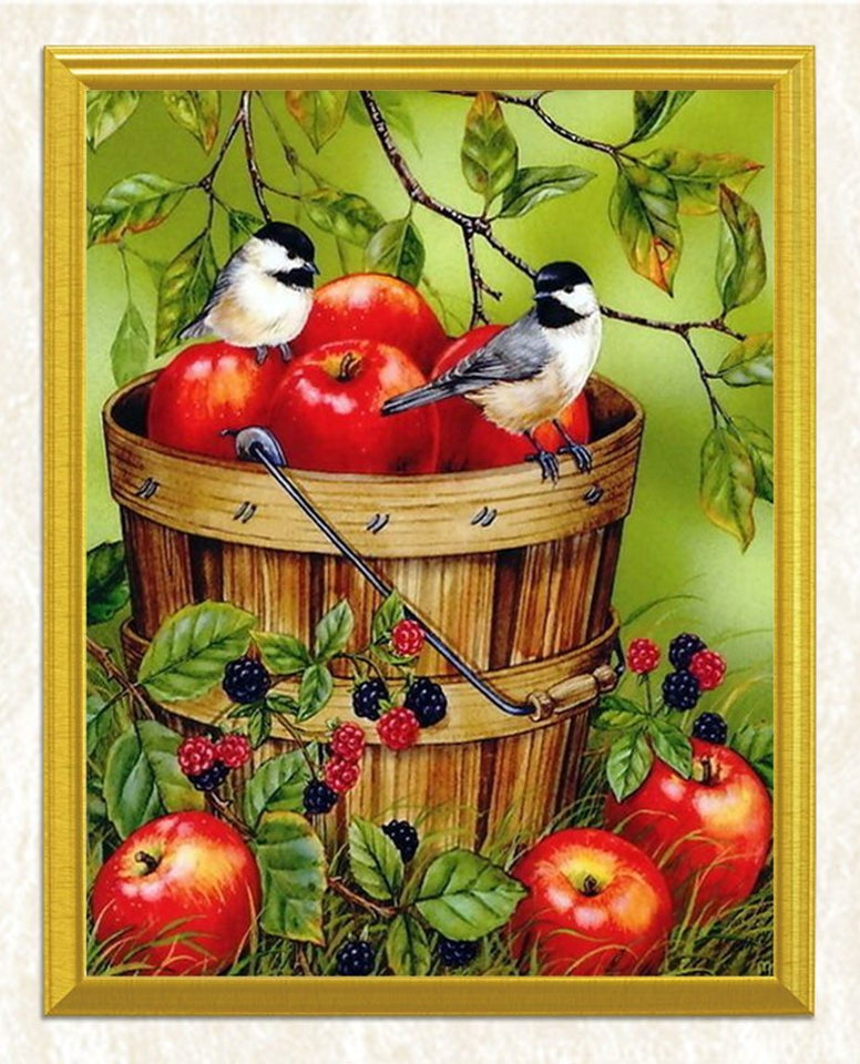 Apples in a Bucket & Sparrows Diamond Painting - diamond-painting-bliss.myshopify.com
